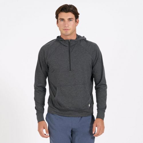 vuori-ponto-performance-half-zip-hoodie-charcoal-heather Available online or in store at assembly88 men's shop in Allentown, PA