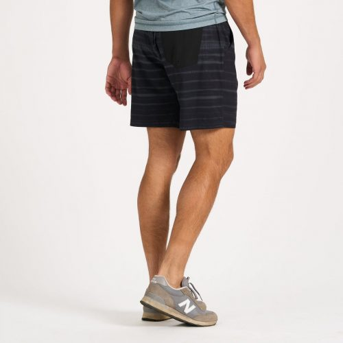 vuori-kore-short-black-shibori-stripe available online or in store at assembly88 men's shop in Allentown, PA