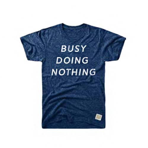 Retro Brand Busy Doing Nothing Tri-Blend Tee Streaky Navy