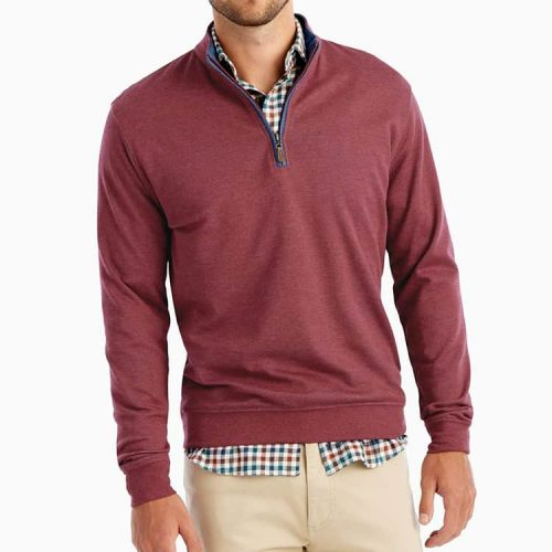 johnnie-O Sully 1/4 Zip Casual Pullover Cranberry