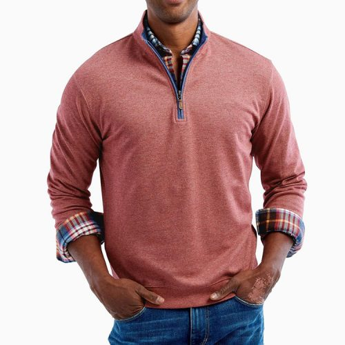 johnnie-o-sully-1-4-zip-pullover-malibu-red Available online or in store at assembly88 men's shop in Allentown, PA