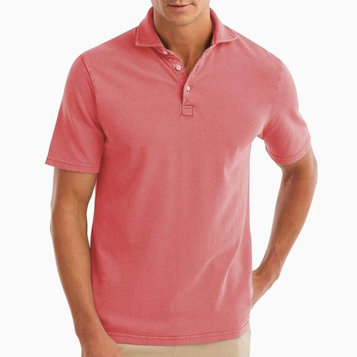 johnnie-o-surfside-garment-dyed-pique-polo-coral-reef Available online or in store at assembly88 men's shop in Allentown, PA