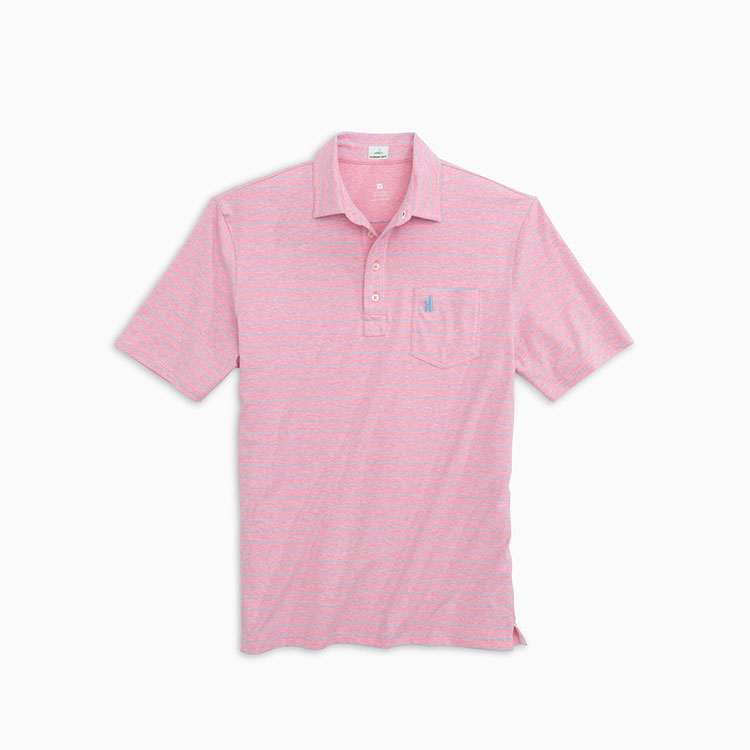 johnnie-o-neese-stripe-polo-flamingo Available online or in store at assembly88 men's shop in Allentown, PA