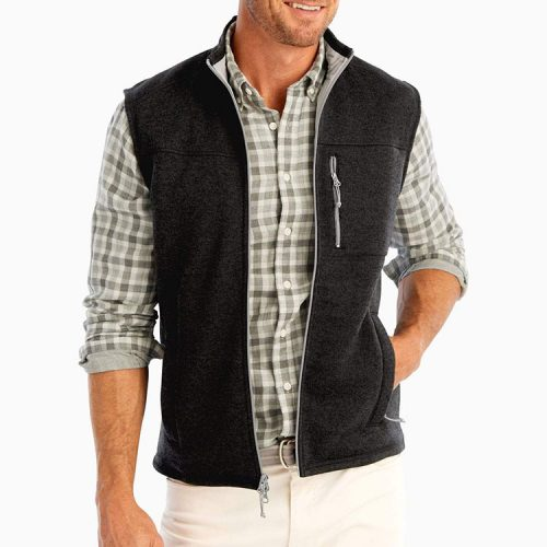 johnnie-o-wes-zip-front-vest-black-mens-johnnie-o Available online or in store at assembly88 men's shop in Allentown, PA