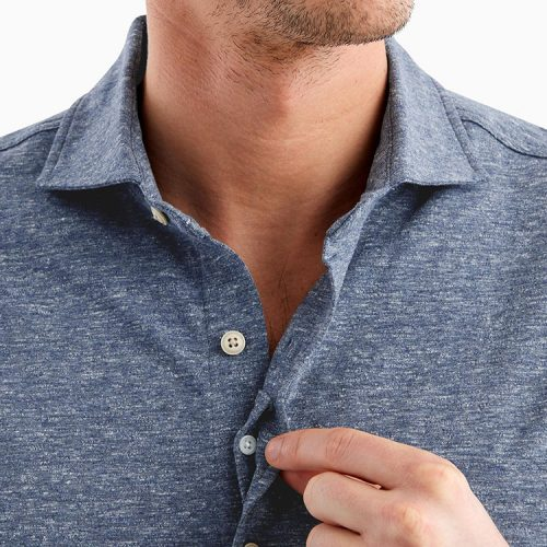 johnnie-o-zion-hangin-out-cutaway-collar-shirt-indigo Available online or in store at assembly88 men's shop in Allentown, PA