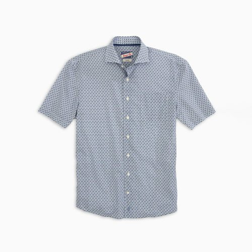 johnnie-o-chez-printed-hangin-out-short-sleeve-shirt-gulf-blue Available online or in store at assembly88 men's shop in Allentown, PA